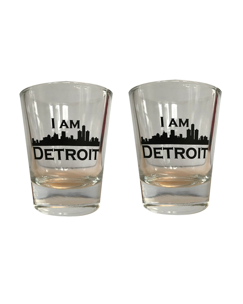 2 clear glass Devastation-Destroyer Shot Glasses with black I Am Detroit logos