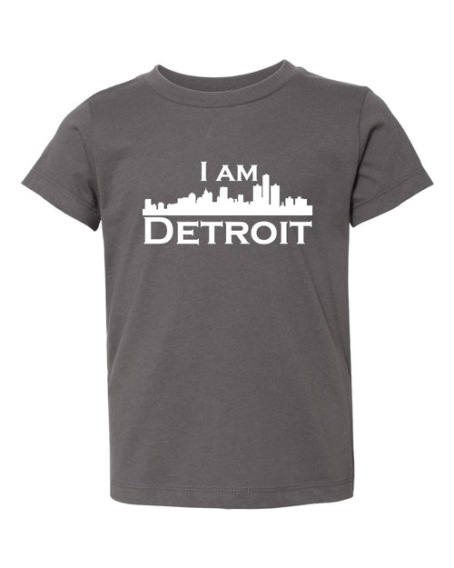Asphalt gray short sleeve toddler t-shit with white I Am Detroit logo across the chest