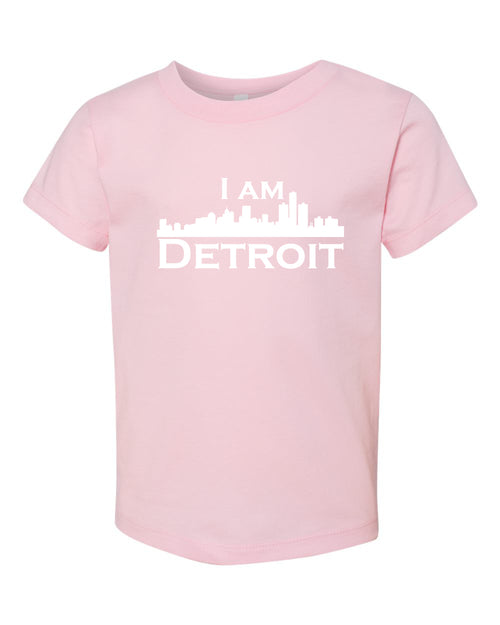 Pink short sleeve toddler t-shit with white I Am Detroit logo across the chest