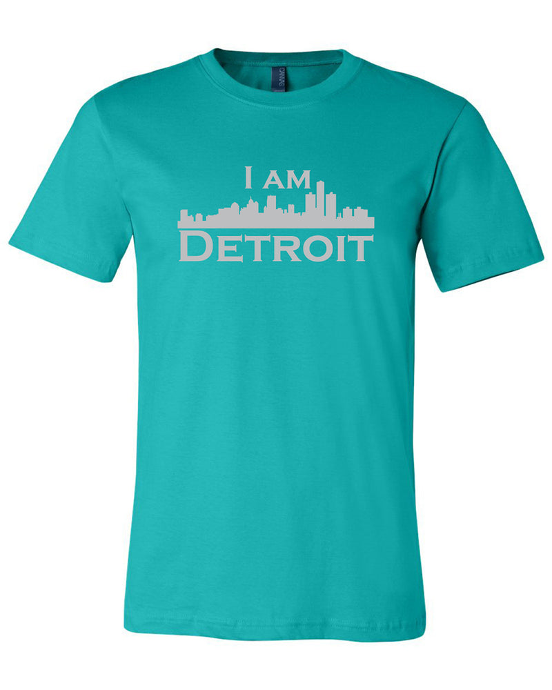 Teal short sleeve t-shirt with large gray I Am Detroit logo printed across the chest