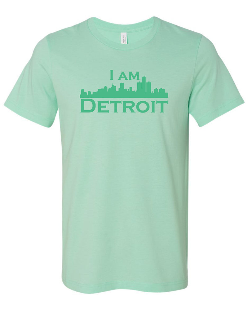 Mint green short sleeve t-shirt with large Mint green I Am Detroit logo printed across the chest