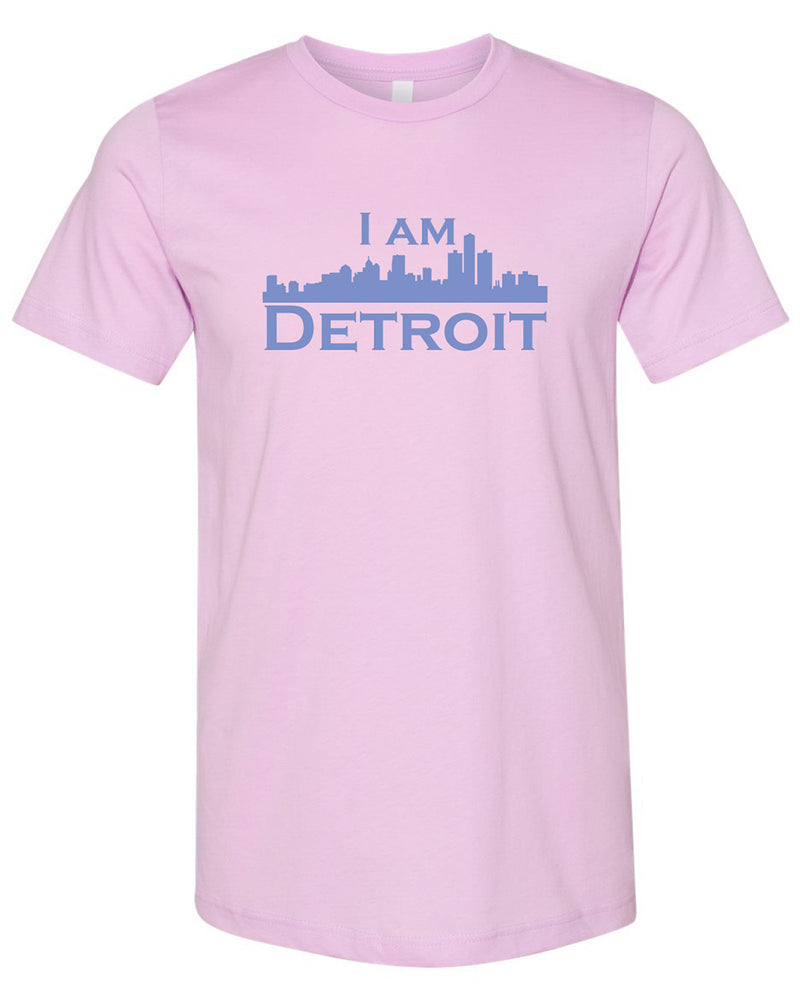Storm gray colored short sleeve t-shirt with large teal I Am Detroit logo printed across the chest