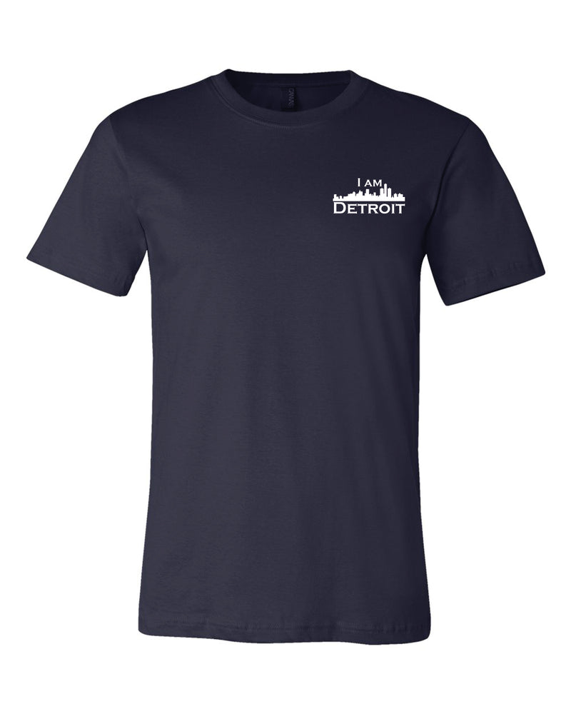 Front view of navy short sleeved t-shirt with small I Am Detroit logo printed on the front left chest