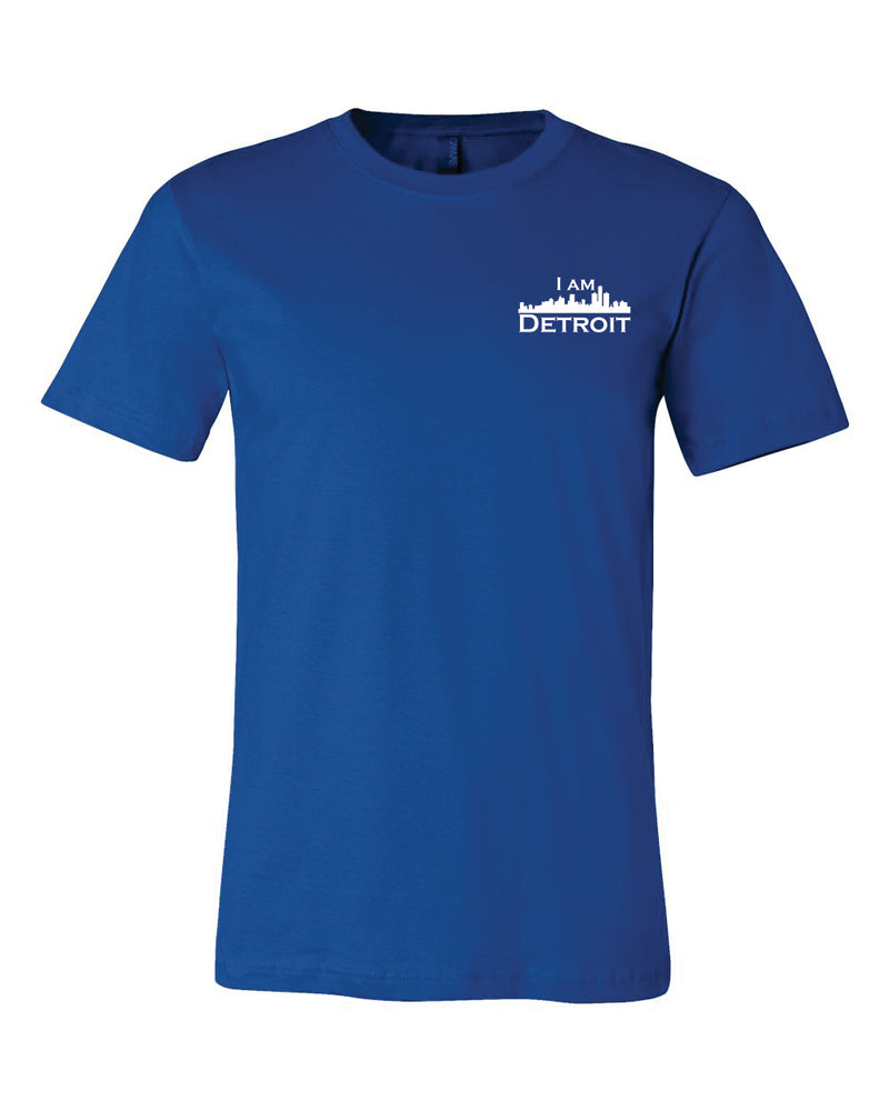 Front view of true royal blue short sleeved t-shirt with small I Am Detroit logo printed on the front left chest