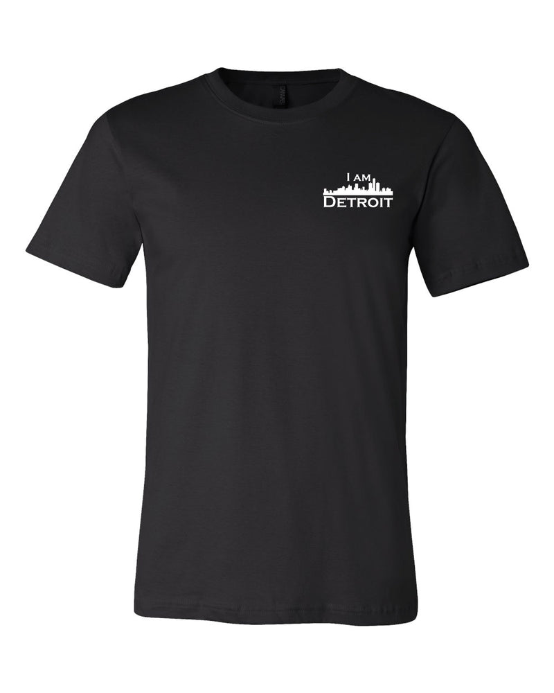 Front view of Black short sleeved t-shirt with small I Am Detroit logo printed on the front left chest