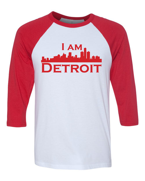 white raglan jersey with red 3/4 sleeves and red I Am Detroit logo across the front of t-shirt