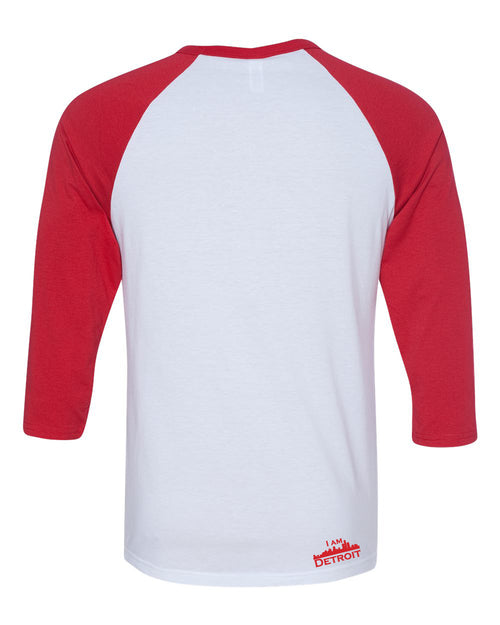 back view of white raglan jersey with red 3/4 sleeves and red I Am Detroit logo along the bottom right hem