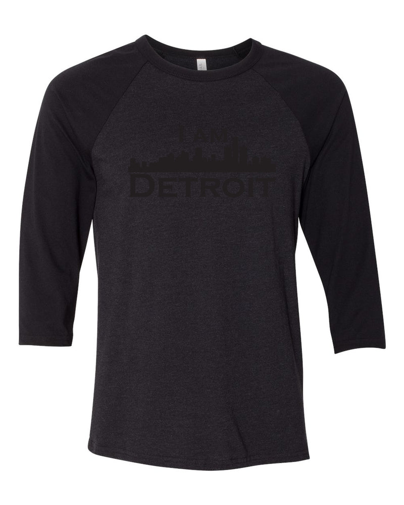 black heather raglan jersey with black 3/4 sleeves and black I Am Detroit logo across the front t-shirt