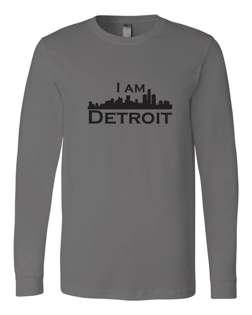 Asphalt gray long-sleeve Bella+Canvas with large black I Am Detroit logo centered on the front