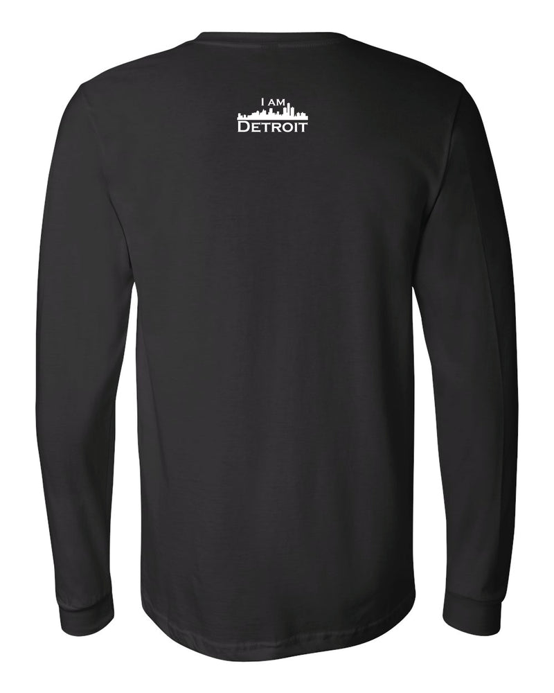 Black long-sleeve Bella+Canvas t-shirt with small white I Am Detroit logo centered on the back below the collar