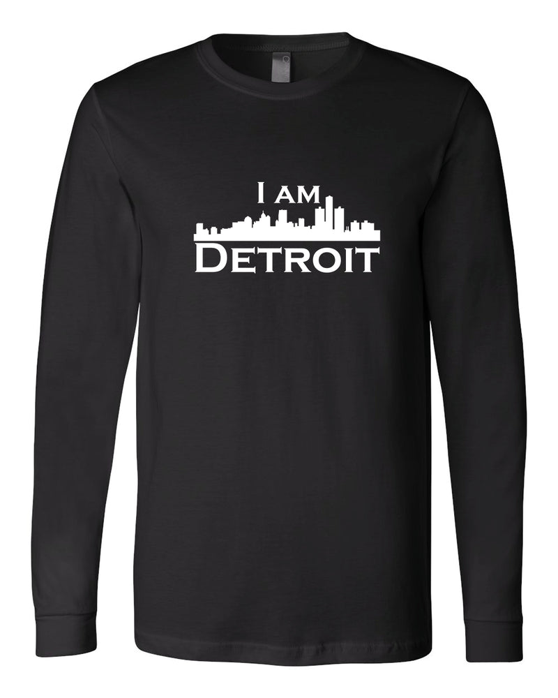 Black long-sleeve Bella+Canvas with large white I Am Detroit logo centered on the front