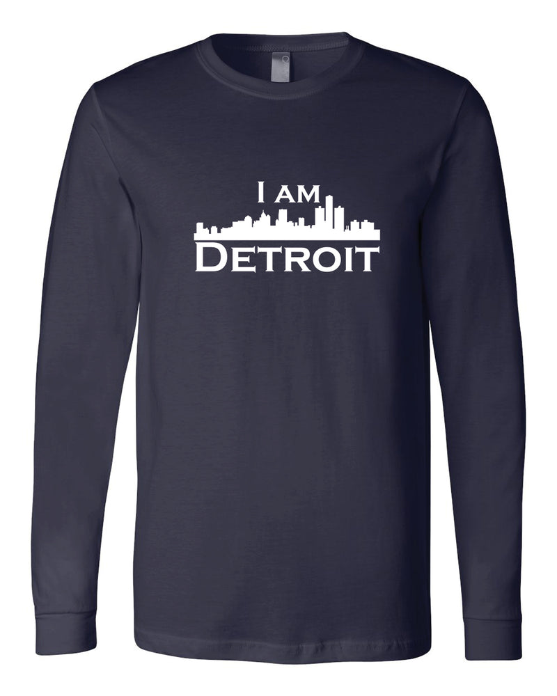 Navy long-sleeve Bella+Canvas with large white I Am Detroit logo centered on the front