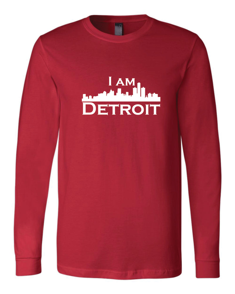 Red long-sleeve Bella+Canvas with large white I Am Detroit logo centered on the front
