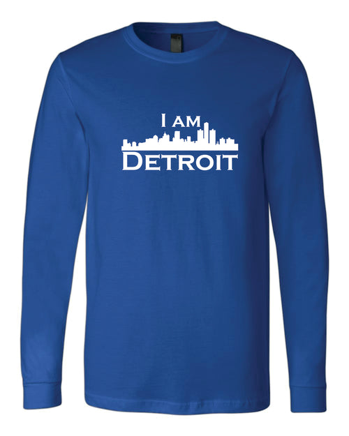 Royal Blue long-sleeve Bella+Canvas with large white I Am Detroit logo centered on the front