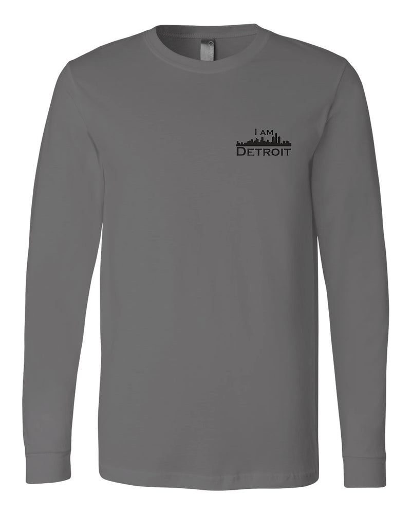 Asphalt gray long-sleeve Bella+Canvas with small black I Am Detroit logo on the front left chest