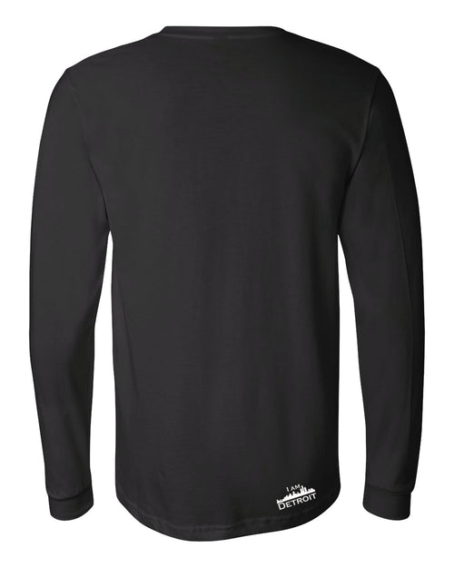 Back view of black long-sleeve Bella+Canvas with small white I Am Detroit logo at the bottom right near hem