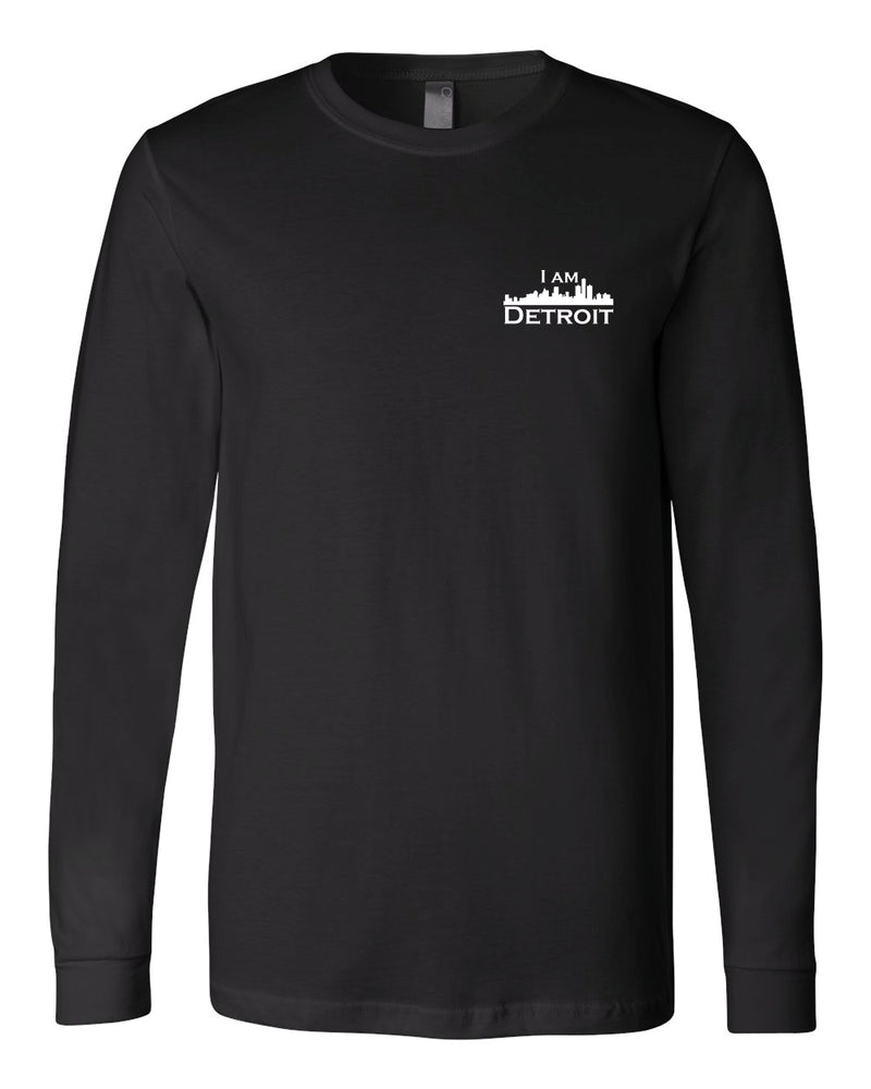 Black long-sleeve Bella+Canvas with small white I Am Detroit logo on the front left chest