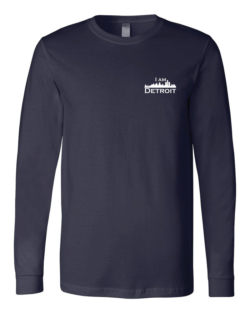 Navy long-sleeve Bella+Canvas with small white I Am Detroit logo on the front left chest