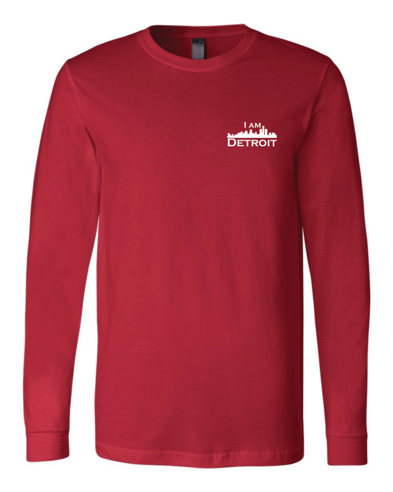 Red long-sleeve Bella+Canvas with small white I Am Detroit logo on the front left chest