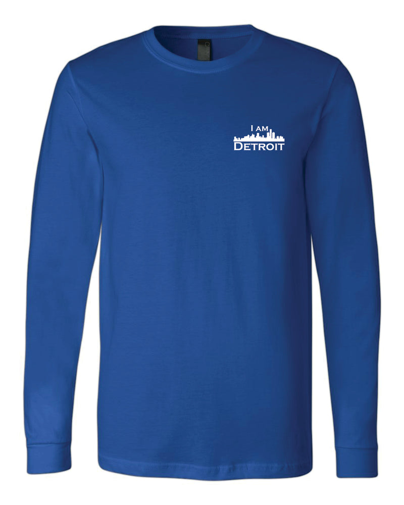 Royal Blue long-sleeve Bella+Canvas with small white I Am Detroit logo on the front left chest