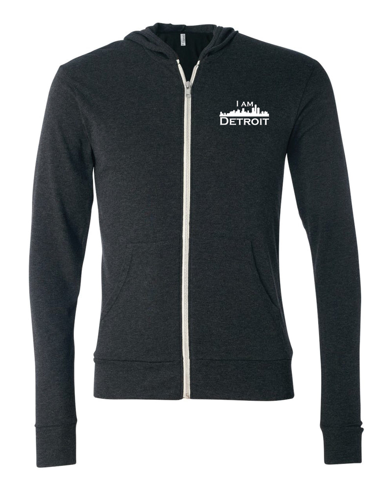Charcoal Black Heather Full-Zip Hooded sweatshirt with small I Am Detroit logo printed on left chest