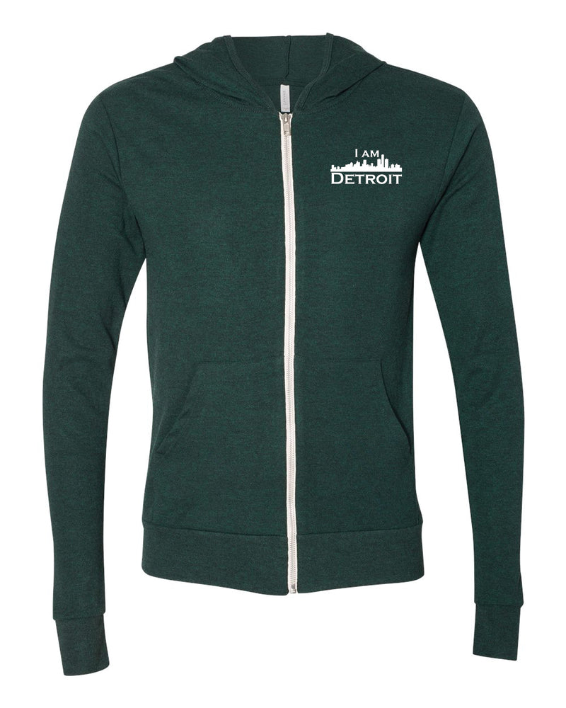 Emerald Green Heather Full-Zip Hooded sweatshirt with small I Am Detroit logo printed on left chest