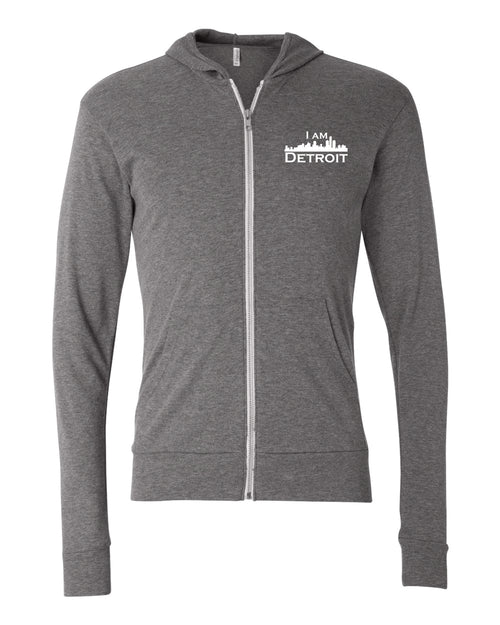 Heather Gray Full-Zip Hooded sweatshirt with small I Am Detroit logo printed on left chest
