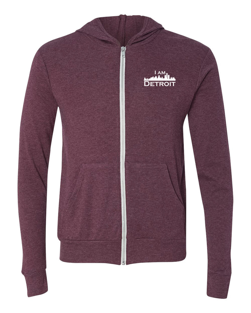 Maroon Heather Full-Zip Hooded sweatshirt with small I Am Detroit logo printed on left chest