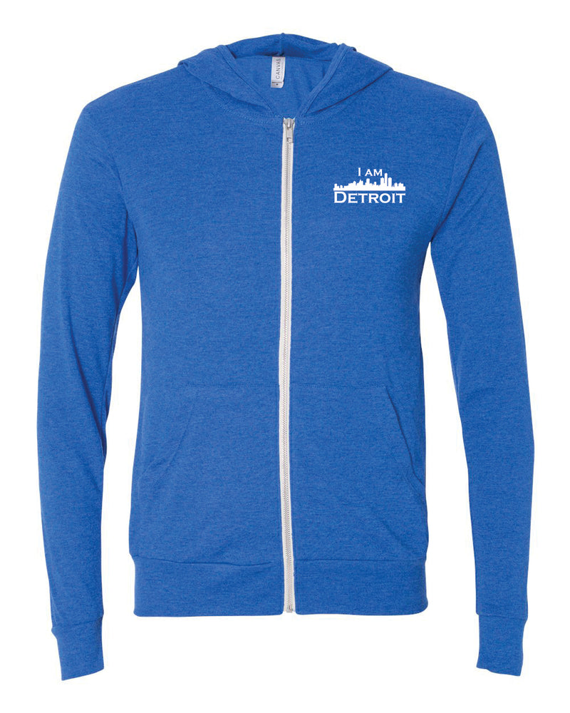 True Royal Blue Full-Zip Hooded sweatshirt with small I Am Detroit logo printed on left chest