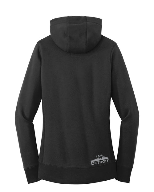 Back facing Black French Terry 3-panel hooded sweatshirt with pouch in front, brass grommets, small  silver I Am Detroit logo near bottom hem on back