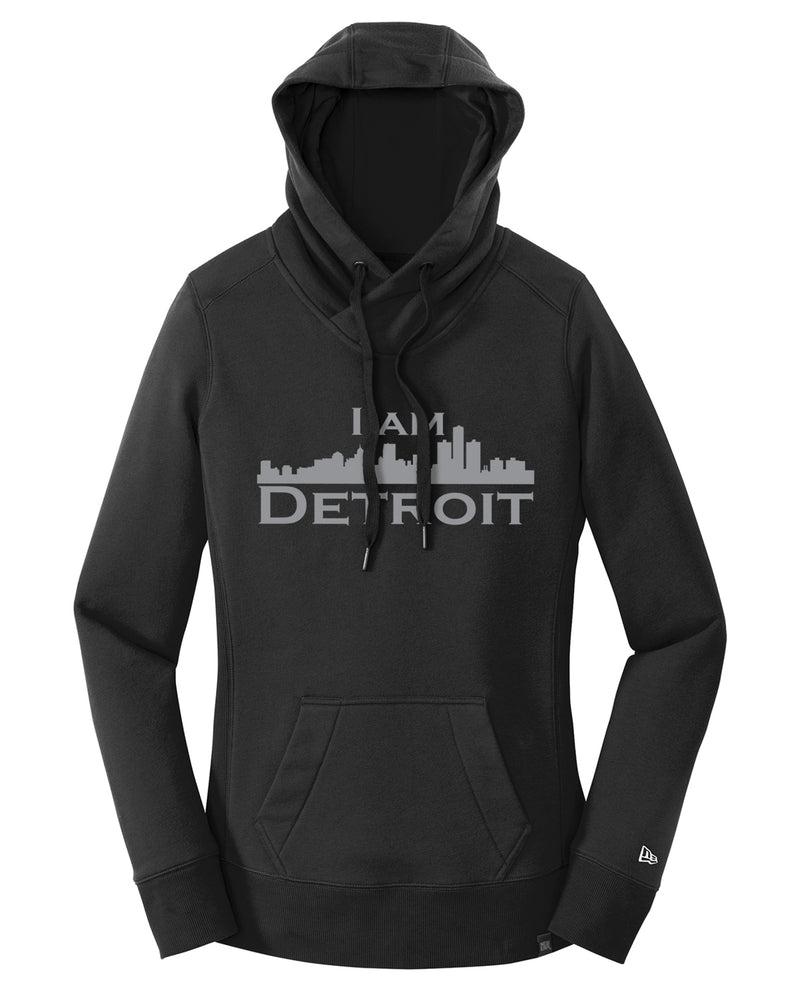 Front facing Black French Terry 3-panel hooded sweatshirt with pouch in front, brass grommets, large silver I Am Detroit logo on front chest