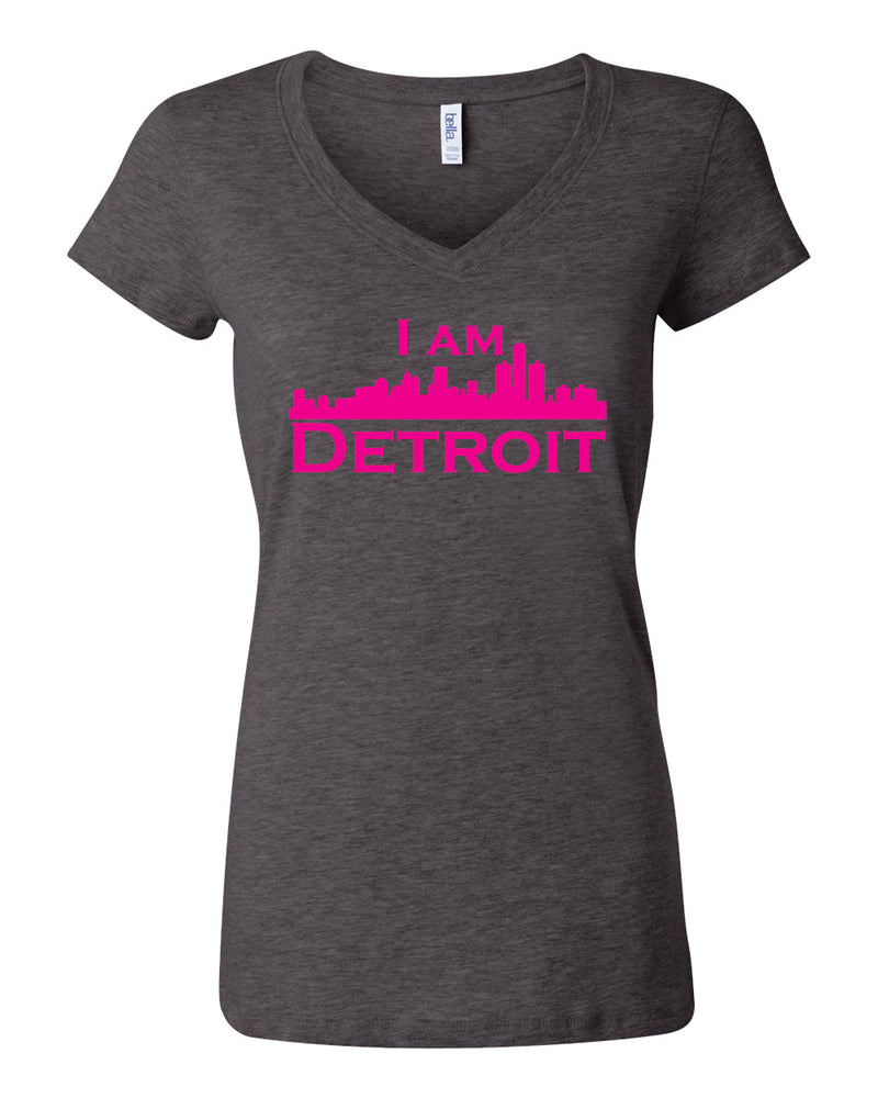 Heather gray v-neck t-shit with large hot pink I Am Detroit logo centered on front