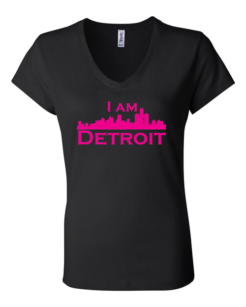 Black v-neck t-shit with large hot pink I Am Detroit logo centered on front