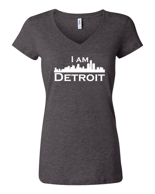 Dark heather gray v-neck t-shit with large white I Am Detroit logo centered on front