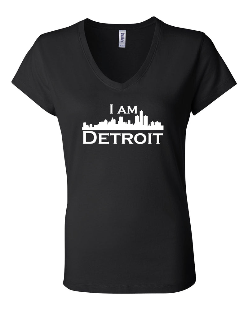 Black v-neck t-shit with large white I Am Detroit logo centered on front