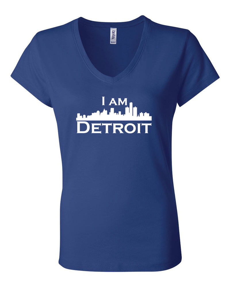 Royal blue v-neck t-shit with large white I Am Detroit logo centered on front