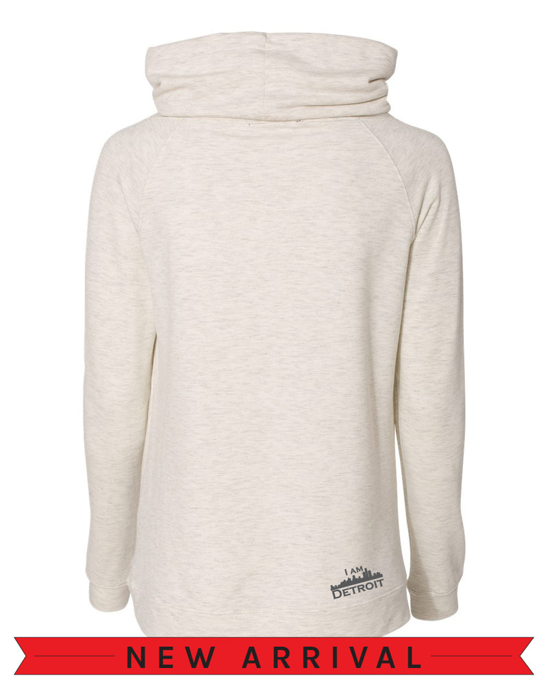 The Emma Sweatshirt Back view of Oatmeal white heather long-sleeve pullover sweatshirt with side pockets oversized funnel collar with color matched drawstrings and small dark grey I Am Detroit logo printed at the bottom right near the hem.