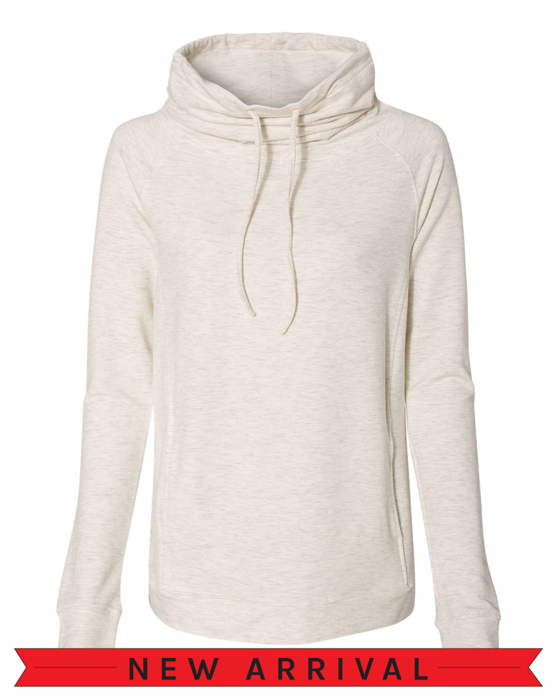 The Emma Sweatshirt Oatmeal white heather long-sleeve pullover sweatshirt with side pockets oversized funnel collar with color matched drawstrings.