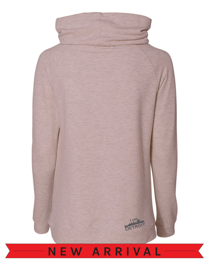 The Emma Sweatshirt Back view of Orchid Hush light pink long-sleeve pullover sweatshirt with side pockets oversized funnel collar with color matched drawstrings and small dark grey I Am Detroit logo printed at the bottom right near the hem.