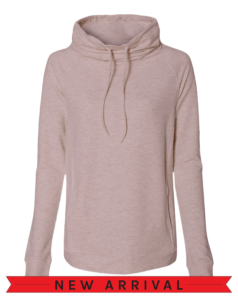 The Emma Sweatshirt The Emma Sweatshirt Orchid Hush pink heather long-sleeve pullover sweatshirt with side pockets oversized funnel collar with color matched drawstrings