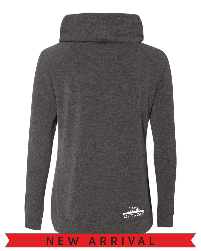 Back view of The Emma Sweatshirt Dark Heather long-sleeve pullover sweatshirt with side pockets oversized funnel collar with color matched drawstrings and small white I Am Detroit logo printed at the bottom right near the hem.