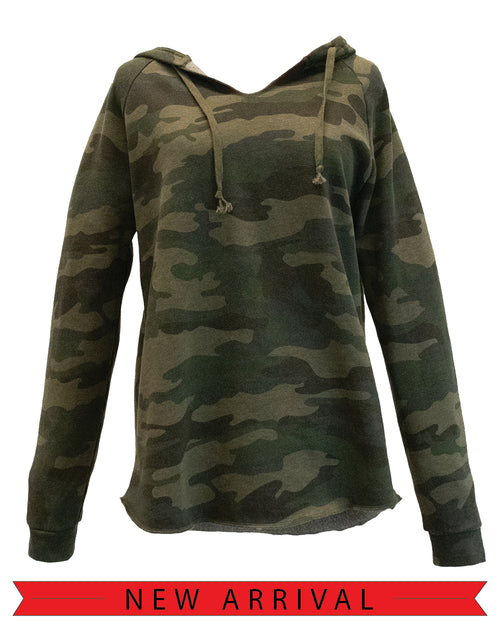front view of soft fleece Camouflage patterned women's I Am Detroit apparel hooded long sleeve sweatshirt with matching drawstring and cuffed sleeves.