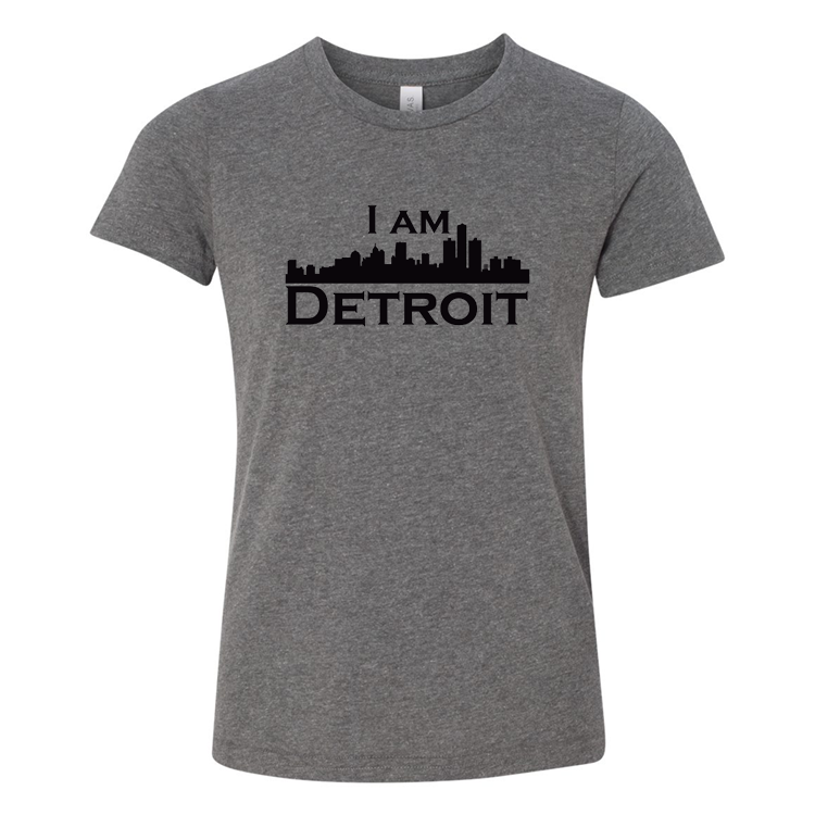 Deep Heather Gray youth sized short sleeve t-shirt with large white I Am Detroit logo printed across the chest