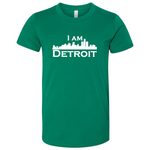 Green youth sized short sleeve t-shirt with large white I Am Detroit logo printed across the chest