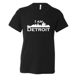 Black youth sized short sleeve t-shirt with large white I Am Detroit logo printed across the chest
