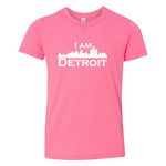 Vibrant pink youth sized short sleeve t-shirt with large white I Am Detroit logo printed across the chest