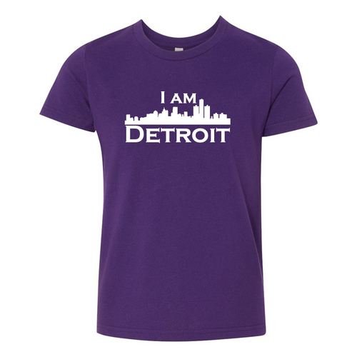 Purple youth sized short sleeve t-shirt with large white I Am Detroit logo printed across the chest