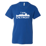 True Royal Blue youth sized short sleeve t-shirt with large white I Am Detroit logo printed across the chest