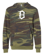 Front view of youth sized camouflage hooded sweatshirt with large white old english D logo design pinted on the front