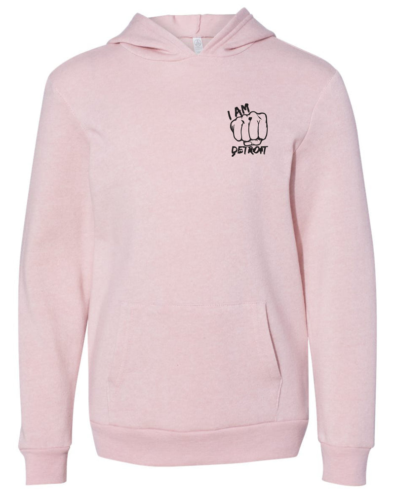 Front view of youth sized rose colored hooded sweatshirt with large black old english D logo design pinted on the front